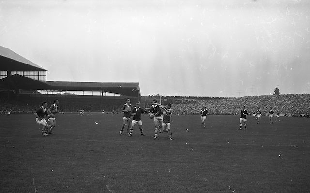 All Ireland Minor Football Final Kerry v. Westmeath, Croke Park..The Westmeath defence is hard pressed by Kerry forwards, Kellaher and McKinney, as they strive to clear their lines..22.09.1963