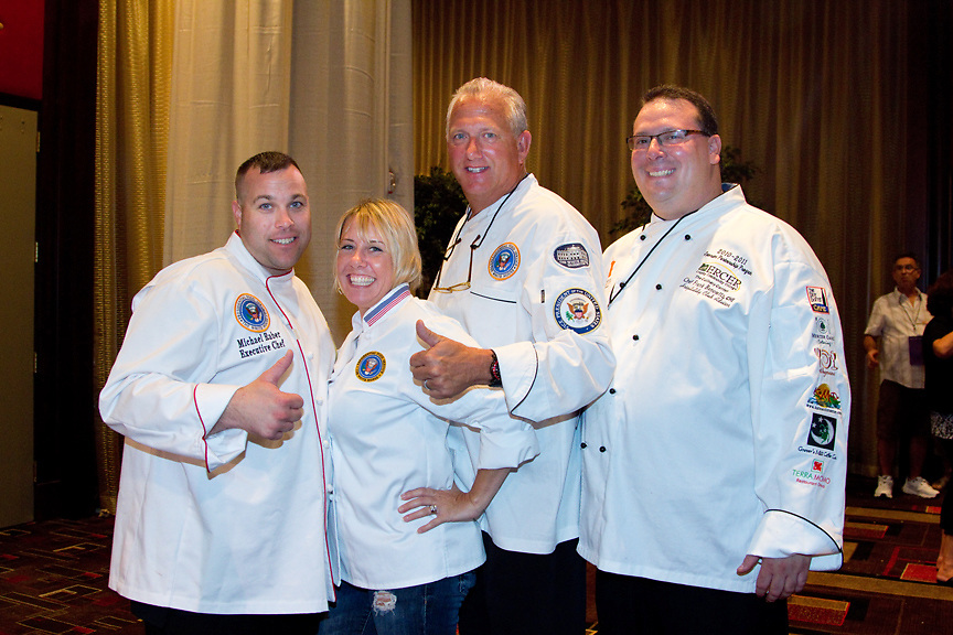 Former White House Military Chefs Julianne Koski, Michael Raber and Guy Mitchell appear at the Atlantic City Food & Wine Festival along with Chef Frank Benowitz of Mercer Community College