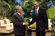 HAVANA, March 20, 2016 <br /> <br /> President Obama Visits Cuba<br /> <br /> shows Cuba's President RAUL CASTRO (L), shaking hands with U.S. President BARACK OBAMA during their meeting at the Palace of the Revolution.<br /> ©Exclusivepix Media