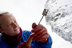 Repro Free: 06/11/2012 .Sculpter Daniel Doyle is pictured creating a giant ice sculpture at the launch of Ireland's largest ice rink, I-Skate@The RDS running from November 16th to January 13th. Pic Andres Poveda..Measuring 1,000 square metres, I-Skate will be the largest rink operating in Ireland this year. Because the rink is so large it is expected that, despite a projected attendance of 100,000+, at all times skaters will have plenty of room to enjoy themselves.?.For those looking for a more stationary form of entertainment ice sculptures and ice sculpting demonstrations will be held on the 16th & 17th of November and the 8th & 9th of December. To book tickets, find out about opening times or the facilities available to families and junior skaters or even to book yourself a hockey match just visit www.iskate.ie .?.