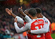 Arsenal players celebrate during the The FA Cup match between Arsenal and Sunderland at the Emirates Stadium, London, England on 9 January 2016. Photo by Adam Rivers.