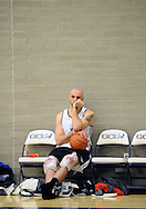 Dec. 10 2011; Phoenix, AZ, USA; Phoenix Suns forward Marcin Gortat (4) ices his knees during training camp at Grand Canyon University. Mandatory Credit: Jennifer Stewart-US PRESSWIRE.
