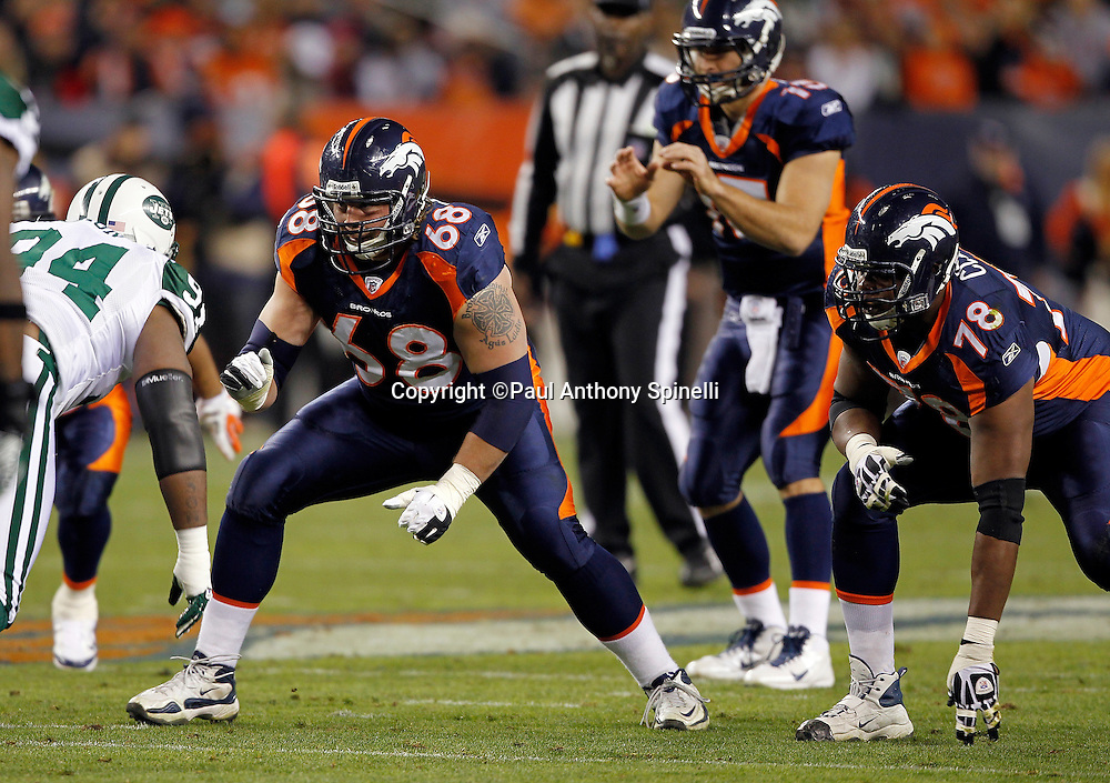 Denver Broncos offensive guard Zane Beadles (68) blocks during the NFL week 11 football game against the New York Jets on Thursday, November 17, 2011 in Denver, Colorado. The Broncos won the game 17-13. ©Paul Anthony Spinelli