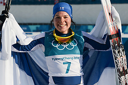 February 25, 2018 - Pyeongchang, South Korea - KRISTA PARMAKOSKI of Finland celebrates after the Ladies' 30km Mass Start Classic cross-country ski racing event in the PyeongChang Olympic Games. (Credit Image: © Christopher Levy via ZUMA Wire)
