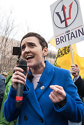 © Licensed to London News Pictures . 24/03/2018. Birmingham, UK. For Britain party leader ANNE-MARIE WATERS speaks at a Football Lads Alliance demonstration against Islam and extremism in Birmingham City Centre . Offshoot group, The True Democratic Football Lads Alliance, also hold a separate demonstration . Photo credit: Joel Goodman/LNP