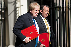 © Licensed to London News Pictures. 01/05/2018. London, UK. Foreign and Commonwealth Secretary Boris Johnson and International Trade Secretary Liam Fox arriving in Downing Street to attend a Cabinet meeting this morning. Cabinet positions have recently shuffled around, following Amber Rudd's resignation as Home Secretary, following the Windrush scandal. Photo credit : Tom Nicholson/LNP