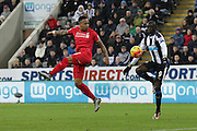 Newcastle United's Striker Papiss Demba Cisse collects the ball in the box during the Barclays Premier League match between Newcastle United and Liverpool at St. James's Park, Newcastle, England on 6 December 2015. Photo by George Ledger.