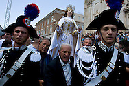 Matera, Basilicata, Italy - July 2007 - The feast of the ?Madonna della Bruna?. Procession of the Sacred Image of Maria SS. of Bruna from the Church of S.  Francesco d' Assisi to the Church of Maria SS. Announced.
