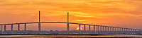 Sun rising under the Sunshine Skyway bridge from Fort De Soto Park. Composite of 4 images taken with a Fuji X-H1 camera and 200 mm f/2 OIS lens with a 1.4x teleconverter (ISO 400, 280 mm, f/16, 1/80 sec). Raw images processed with Capture One Pro and AutoPano Giga Pro.