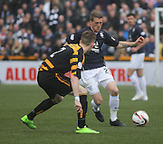 Jim McAlister runs at Alloa Athletic's James Michael Doyle - Alloa Athletic v Dundee, SPFL Championship at Recreation Park, Alloa<br /> <br />  - &copy; David Young - www.davidyoungphoto.co.uk - email: davidyoungphoto@gmail.com