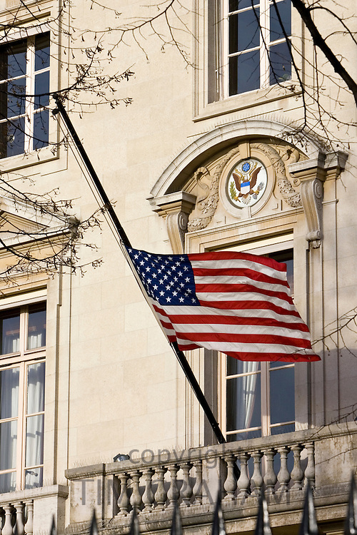 Half mast flag at US Embassy in Place de la Concorde, Paris, France
