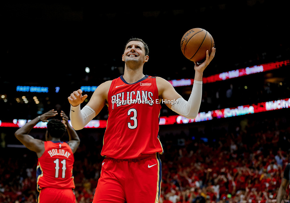 May 6, 2018; New Orleans, LA, USA; New Orleans Pelicans forward Nikola Mirotic (3) and guard Jrue Holiday (11) reacts to an officials call during the second quarter in game four of the second round of the 2018 NBA Playoffs against the Golden State Warriors at the Smoothie King Center. Mandatory Credit: Derick E. Hingle-USA TODAY Sports