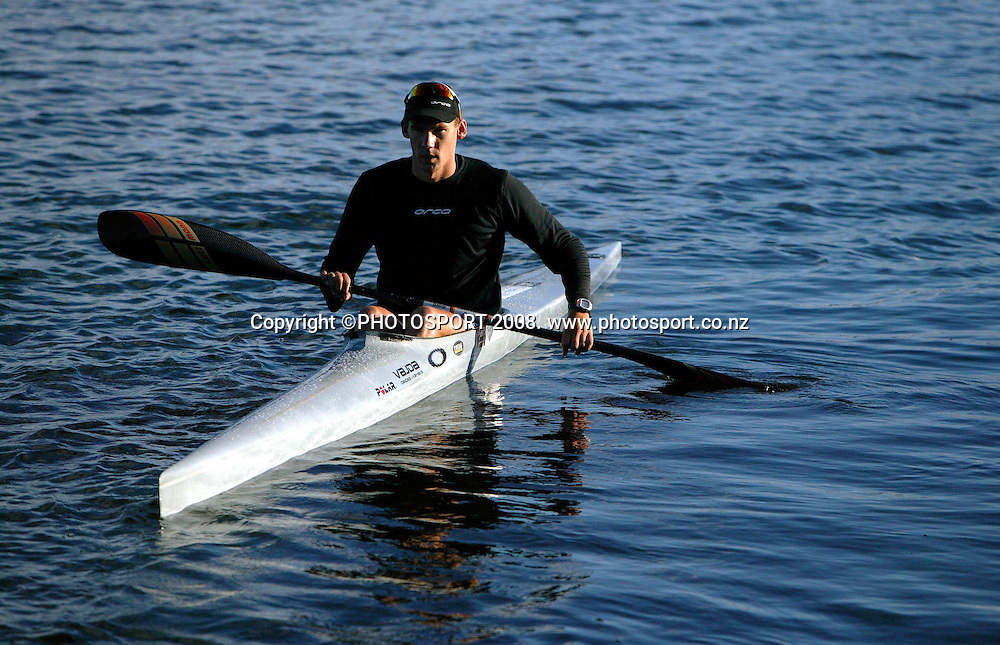 Kayaker Ben Fouhy at a photoshoot in Auckland's Mission Bay, April 7 2004. Photo: Andrew Cornaga/PHOTOSPORT