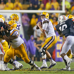 Sep 21, 2013; Baton Rouge, LA, USA; LSU Tigers quarterback Zach Mettenberger (8) looks to throw against the Auburn Tigers during the first half of a game at Tiger Stadium. Mandatory Credit: Derick E. Hingle-USA TODAY Sports