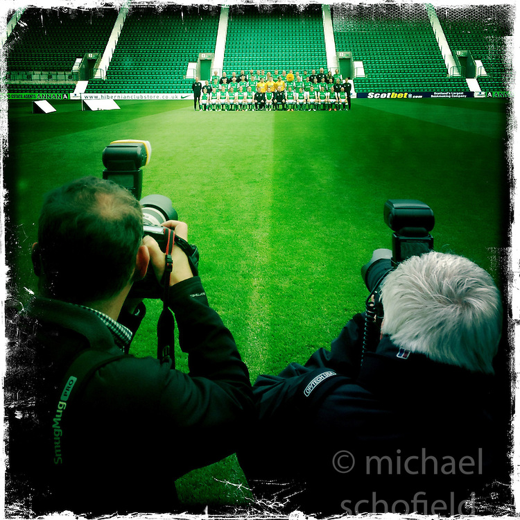 Hibernian FC team photo.<br /> Picture taken with the Hipstamatic iPhone photo app.