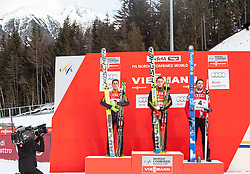 18.01.2014, Casino Arena, Seefeld, AUT, FIS Weltcup Nordische Kombination, Seefeld Triple, Podium, im Bild zweitplatzierter Johannes Rydzek (GER), Sieger Eric Frenzel (GER) und drittplatzierter Haavard Klemetsen (NOR) // fl. second placed Johannes Rydzek, Winner Eric Frenzel (GER) and third Placed Haavard Klemetsen (NOR) during Winner Award Ceremony at FIS Nordic Combined World Cup Triple at the Casino Arena in Seefeld, Austria on 2014/01/18. EXPA Pictures © 2014, PhotoCredit: EXPA/ JFK