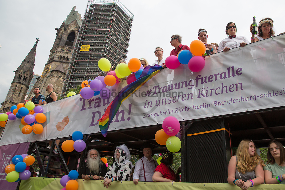Berlin, Germany - 22.07.2017<br /> <br /> Truck of the protestant church at the Christopher Street Day 2017 in Berlin. Hundreds of thousands of people protesting and celebrating the Berlin Pride<br /> <br /> Erstmal ist auche in Wagen der Evangelischen Kirche beim Christopher Street Day in Berlin dabei. Hunderttausende Menschen protestieren und feiern bei der Berlin Pride unter Motto &bdquo;Mehr von uns &ndash; jede Stimme gegen Rechts!&ldquo;<br /> <br /> Photo: Bjoern Kietzmann