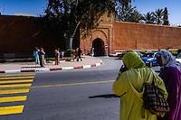 Morocco, Marrakesh. Women outside the city walls.