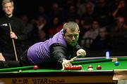 20.02.2016. Cardiff Arena, Cardiff, Wales. Bet Victor Welsh Open Snooker. Mark Allen versus Neil Robertson. Mark Allen at the table.