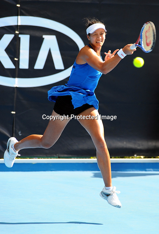 Anne Keothavong(GER) in action during her match against Kateryna Bondarenko(UKR) at the WTA 2011 ASB Classic, ASB Tennis Centre, Auckland, New Zealand. Wednesday 5 January 2011. Photo: Chris Symes/photosport.co.nz