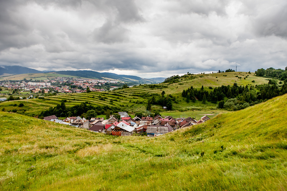 "The Roma part of the district ""Podsadek"" in eastern Slovakia, located in a little valley. The city of Stara Lubovna (in the back) is located about 100 km from Kosice in northeast Slovakia. The town has a population of 16350, of whom 2 060 (13%) are of Roma origin. The majority of Roma live in the Podsadek district, where 980 (74%) out of 1330 inhabitants are Roma."