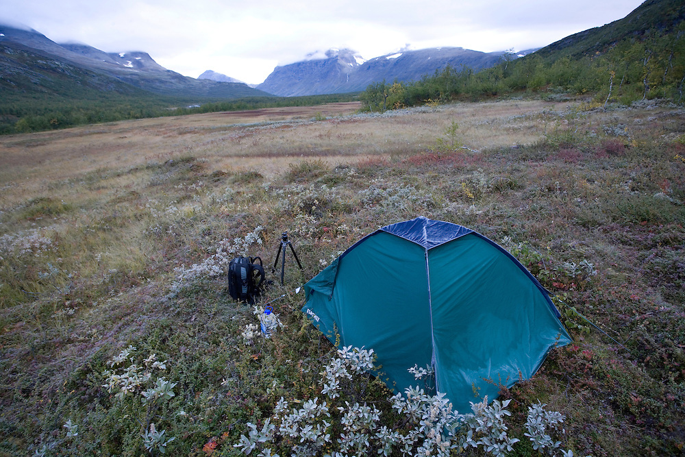Tent belonging to Peter Cairns on WWE mission, Sarek National Park, Laponia World Heritage Site, Sweden