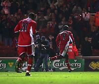 Photo: Andrew Unwin.<br /> Middlesbrough v Fulham. The Barclays Premiership.<br /> 20/11/2005.<br /> Middlesbrough's Jimmy Floyd Hasselbaink (R) wheels away after scoring his team's third goal, putting them into the lead.