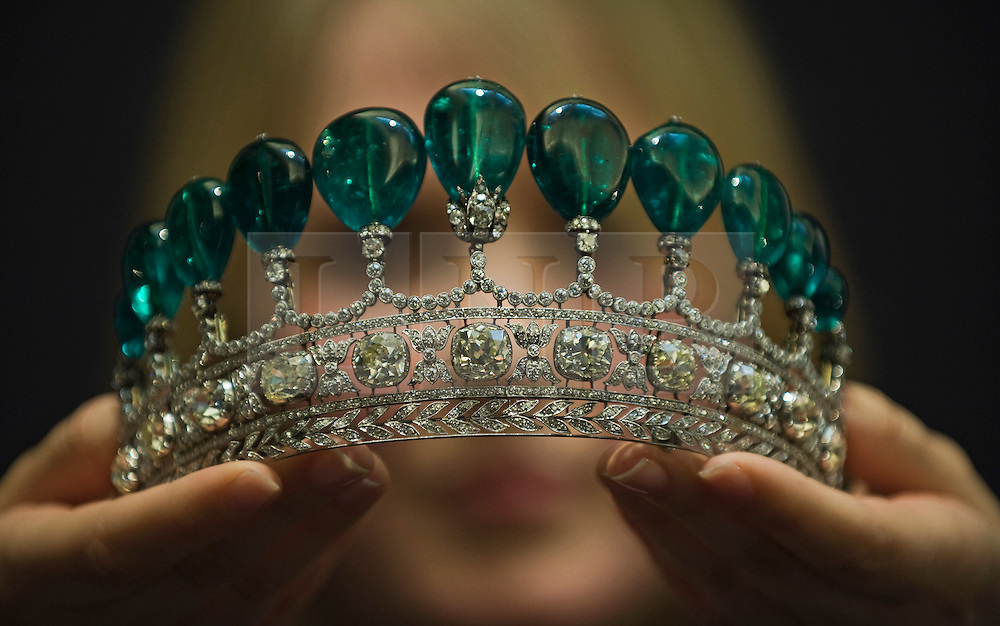 © licensed to London News Pictures. 04/05/2011. London, UK. An emerald and diamond diadem, estimated to bring £3.1 to £6.2 million  at Sotheby's upcoming Sale of Magnificent and Noble Jewels. The auction, which will take place on May 17th offers Jewels that have not been on the open market for 30 years. Items on show include a 'Rare Fancy Intense Pink diamond ring' estimated to fetch $9 to $16 million. Please see special instructions for usage rates. Photo credit should read Ben Cawthra/LNP