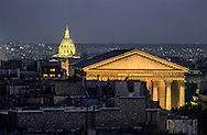 France. Paris. elevated view.Madeleine church and the Invalides view  from the terrace on  the roof top of the Printemps department store
