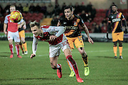 Josh Cullen (Bradford City) watches as the ball is cut out by David Ball (Fleetwood Town) during the EFL Sky Bet League 1 match between Fleetwood Town and Bradford City at the Highbury Stadium, Fleetwood, England on 14 February 2017. Photo by Mark P Doherty.