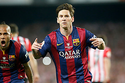 30.05.2015, Camp Nou, Barcelona, ESP, Copa del Rey, Athletic Club Bilbao vs FC Barcelona, Finale, im Bild FC Barcelona's Leo Messi (r) and Daniel Alves celebrate goal // during the final match of spanish king's cup between Athletic Club Bilbao and Barcelona FC at Camp Nou in Barcelona, Spain on 2015/05/30. EXPA Pictures &copy; 2015, PhotoCredit: EXPA/ Alterphotos/ Acero<br /> <br /> *****ATTENTION - OUT of ESP, SUI*****