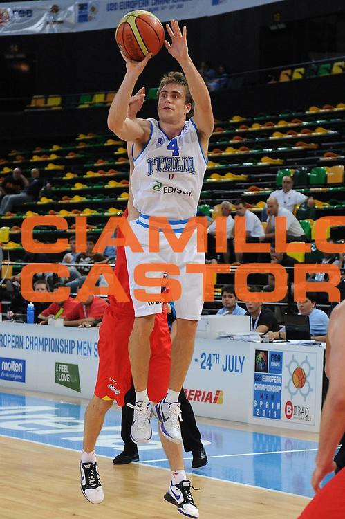 DESCRIZIONE : Bilbao Spain U20 European Championship Men Qualifying Round Italy Spain Italia Spagna <br /> GIOCATORE : Andrea De Nicolao<br /> SQUADRA : Nazionale Italiana Uomini U20<br /> EVENTO : Bilbao Spain U20 European Championship Men Qualifying Round Italy Spain Europeo Maschile Under 20 Qualificazioni Italia Spagna<br /> GARA : Italy Spain Italia Spagna<br /> DATA : 20/07/2011<br /> CATEGORIA : tiro<br /> SPORT : Pallacanestro <br /> AUTORE : Agenzia Ciamillo-Castoria/M.Marchi<br /> Galleria : Europeo Under 20 Maschile 2011<br /> Fotonotizia : Bilbao Spain U20 European Championship Men Qualifying Round Italy Spain Italia Spagna<br /> Predefinita :