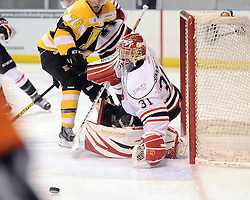 Jordan Binnington of the Owen Sound Attack. Photo by Aaron Bell/OHL Images
