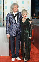 February 11, 2019 - London, New York, United Kingdom of Great Britain and Northern Ireland - Brian May and wife Anita Dobson arriving at the EE British Academy Film Awards on at the Royal Albert Hall on February 10 2019 in London, England  (Credit Image: © Famous/Ace Pictures via ZUMA Press)