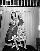 19/11/1956<br /> 11/19/1956<br /> 19 November 1956<br /> Irene Gilbert fashion show at the Shelbourne Hotel, Dublin. Picture shows models on the catwalk at the event.
