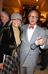 "ANITA PALLENBERG and MANOLO BLAHNIK at a party hosted by Christopher Bailey to celebrate the launch of ""The Snippy World of New Yorker Fashion Artist Michael Roberts"" held at Burberry, 21-23 New Bond Street, London on 20th September 2005.<br />