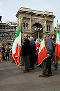 Militans of ANPI ( Italian Partisans National Association ) with italian flags at demonstration of Liberation day in Milan, April 25, 2011. © Carlo Cerchioli..Militanti dell'ANPI ( Associazione Nazionale Partigiani Italiani ) alla manifestazione per la Liberazione, Milano 25 aprile 2011.
