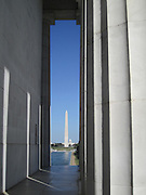 Washington Monument and US Capitol as seen through the columns of Lincoln Memorial in Washington, DC. Architectural structure as natural frame!