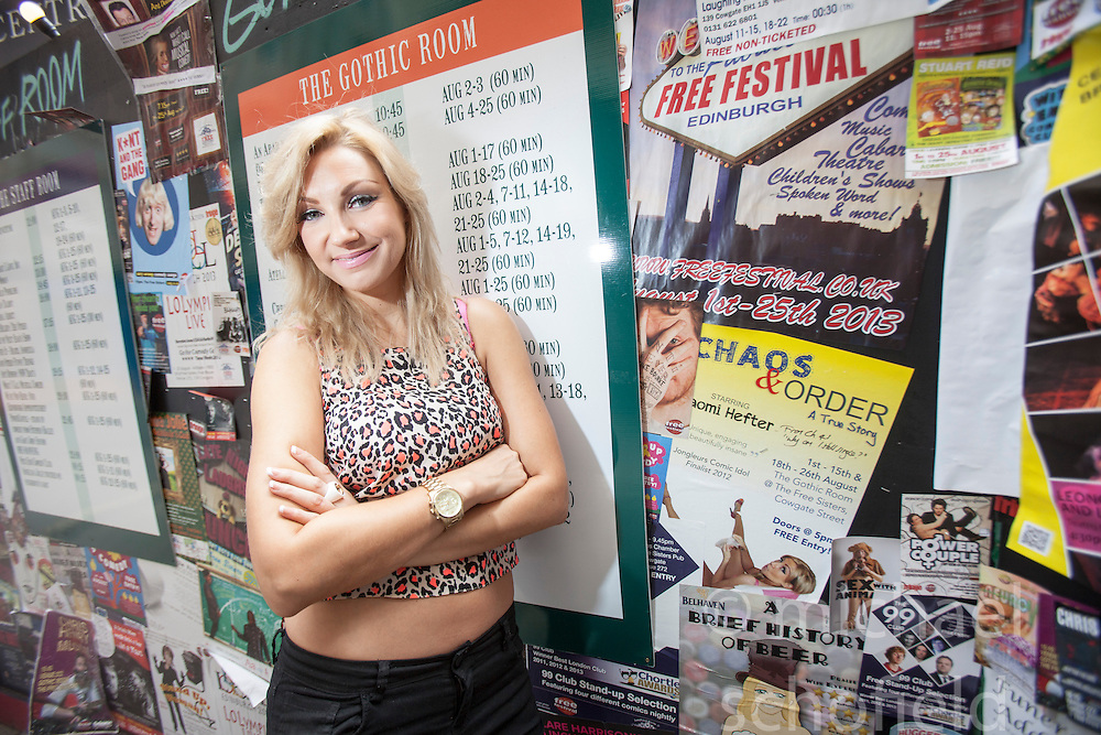 Comedian Naomi Hefter at the Free Sisters venue on Cowgate.<br /> &copy;Michael Schofield.
