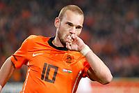 AMSTERDAM - EK kwalificatiewedstrijd Nederland - Hongarije,  29-03-11, seizoen 2010-2011, Stadion Amsterdam Arena, Oranje Speler Wesley Sneijder heeft gescoord voor Nederland op 2-2.
