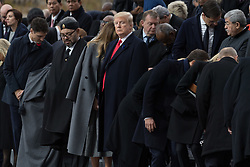 Morocco's King Mohammed VI and Donald Trump.<br /> French President Emmanuel Macron and Brigitte Macron, German Chancellor Angela Merkel, U.S. President Donald Trump, first lady Melania Trump, Morocco's King Mohammed VI, Russian President Vladimir Putin, Australian Governor-General Peter Cosgrove attend a commemoration ceremony for Armistice Day, 100 years after the end of the First World War at the Arc de Triomphe.<br /> Paris,FRANCE-11/11/2018 Photo by Jacques Witt/pool/ABACAPRESS.COM