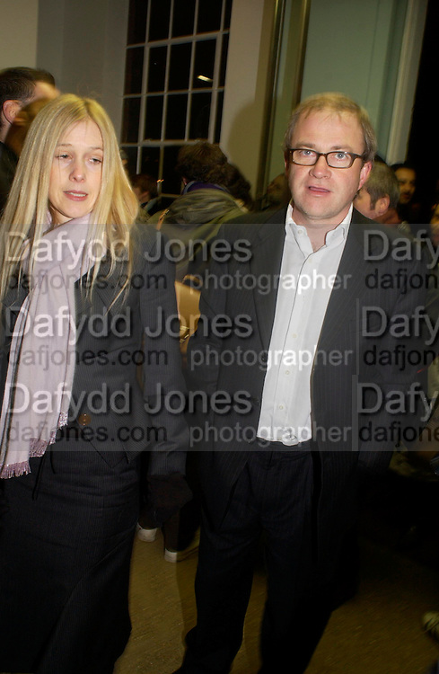 Mr. and Mrs. Harry Enfield. Chemical Life Support opening, White Cube. 3 March 2005. ONE TIME USE ONLY - DO NOT ARCHIVE  © Copyright Photograph by Dafydd Jones 66 Stockwell Park Rd. London SW9 0DA Tel 020 7733 0108 www.dafjones.com
