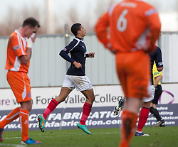 Falkirk's Lyle Taylor celebrates after scoring their first goal..half time : Falkirk v Forfar Athletic, Scottish Cup fifth round tie, 2/2/2013. .©Michael Schofield.