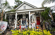 Home in New Orleans Garden District decorated for Halloween. New Orleans has become a Halloween destination for many tourists.