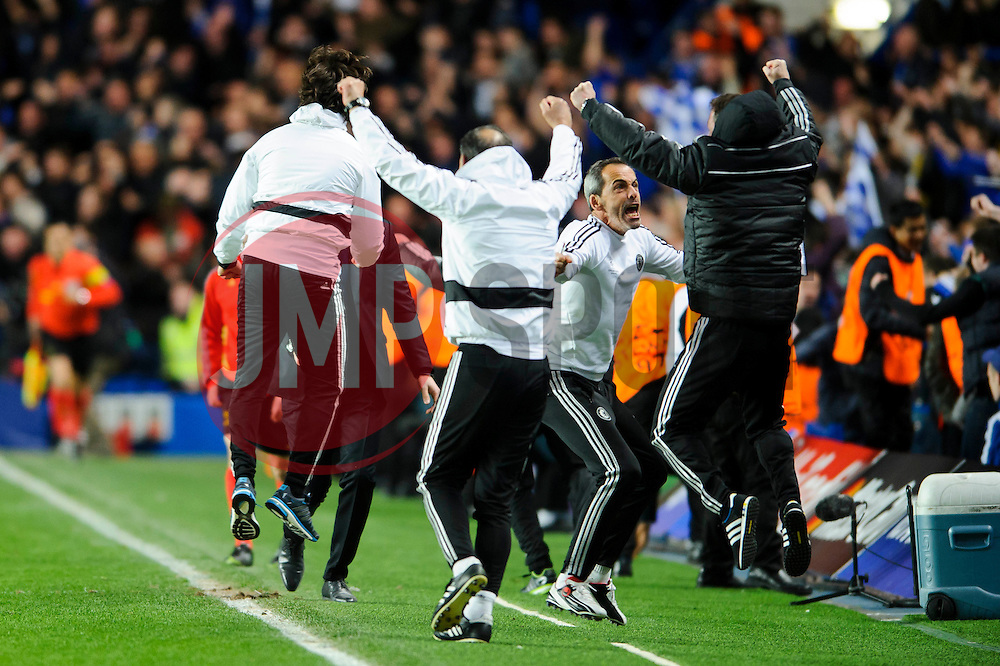 The chelsea coaches go wild as their side get tyhe second goal - Photo mandatory by-line: Rogan Thomson/JMP - 07966 386802 - 08/04/2014 - SPORT - FOOTBALL - Stamford Bridge, London - Chelsea v Paris Saint-Germain - UEFA Champions League Quarter-Final Second Leg.