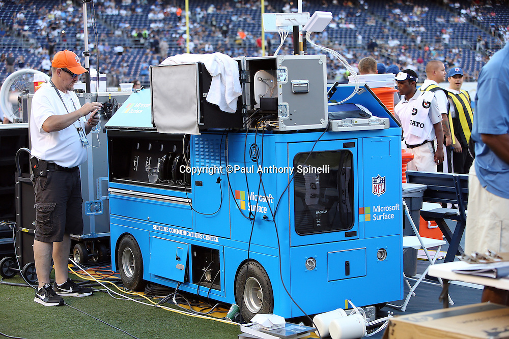 A sideline communications cart stands ready on the sideline before the San Diego Chargers 2015 NFL preseason football game against the Dallas Cowboys on Thursday, Aug. 13, 2015 in San Diego. The Chargers won the game 17-7. (©Paul Anthony Spinelli)