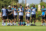 Drinks break during the training session during the Forest Green Rovers Training session at Browns Sport and Leisure Club, Vilamoura, Portugal on 24 July 2017. Photo by Shane Healey.