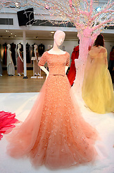 Pictured is the 'Aurora' dress from Sleeping Beauty designed by Elie Saab.<br /> Unique designer dresses inspired by Disney's Iconic Princesses to go under the hammer in aid of Great Ormond Street Hospital at Christie's South Kensington, London, United Kingdom. Friday, 8th November 2013. Picture by Ben Stevens / i-Images