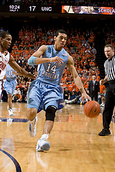 North Carolina guard/forward Danny Green (14) dribbles up court against Virginia.  The Virginia Cavaliers men's basketball team faced the #3 ranked North Carolina Tar Heels  at the John Paul Jones Arena in Charlottesville, VA on February 12, 2008.