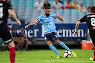 Sydney FC forward Alex Brosque (14) takes a shot at goal at the Hyundai A-League Round 8 soccer match between Western Sydney Wanderers FC and Sydney FC at ANZ Stadium in NSW, Australia